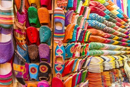 A Souk Filled With Moroccan Slippers