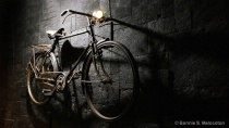 A vintage bike on a wall