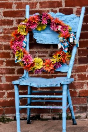 Wreath on a Blue Chair