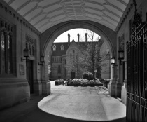 Manchester: university buildings in b&w