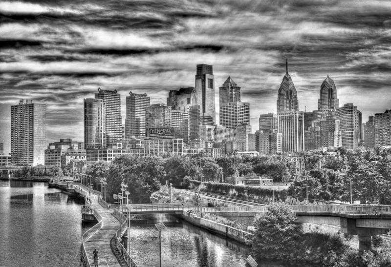 Philly HDR in B&W