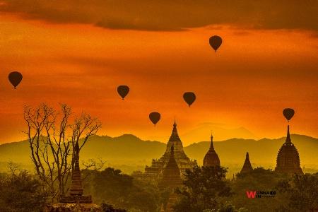 pagoda with ballons