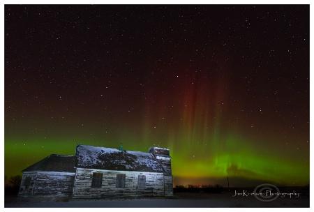 Aurora Borealis and Prairie Church