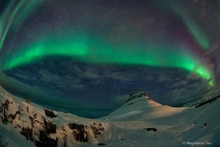 Auroras over Kirkjufell Mountain