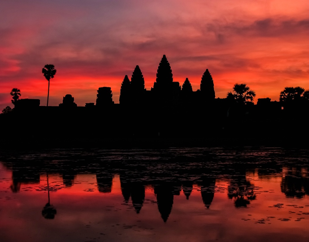 Silhouette of Angkor Wat at Sunset