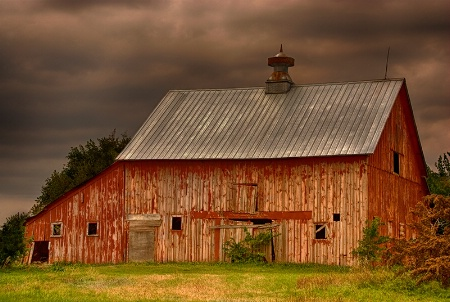 Red Barn in Storm Light