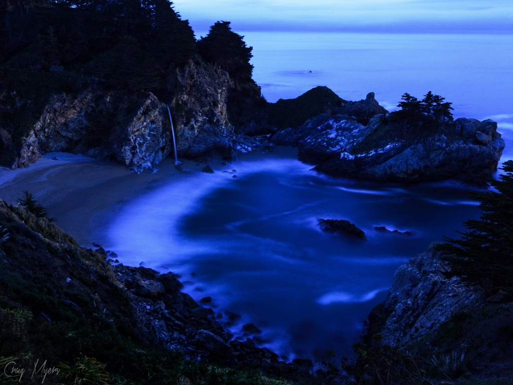 McWay Falls by Light of Full Moon - ID: 15147473 © Craig W. Myers
