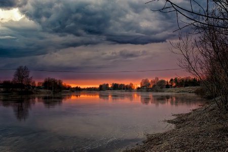 Springtime Sunset By The River