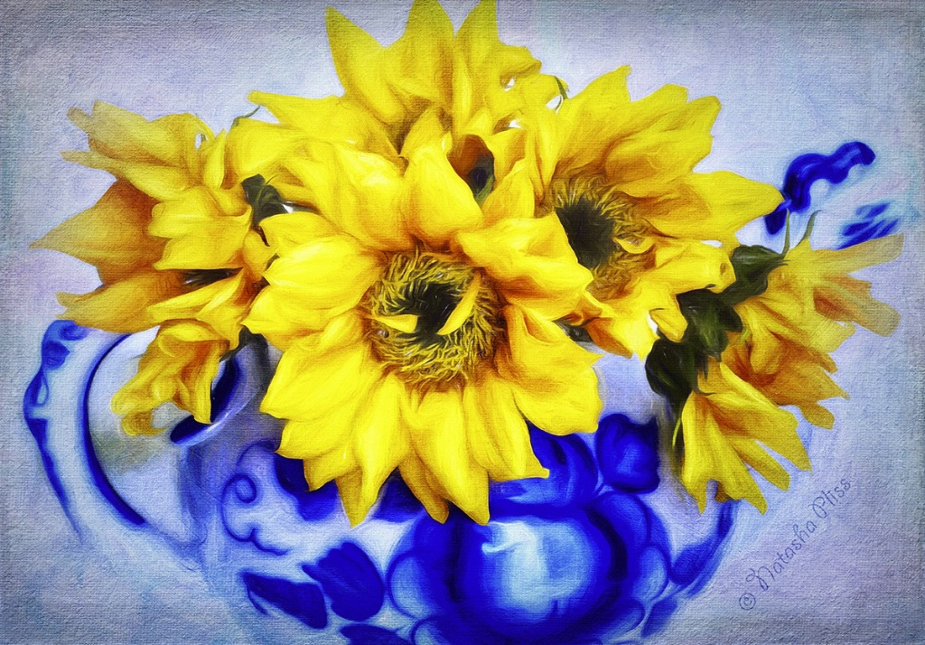 Yellow in blue
