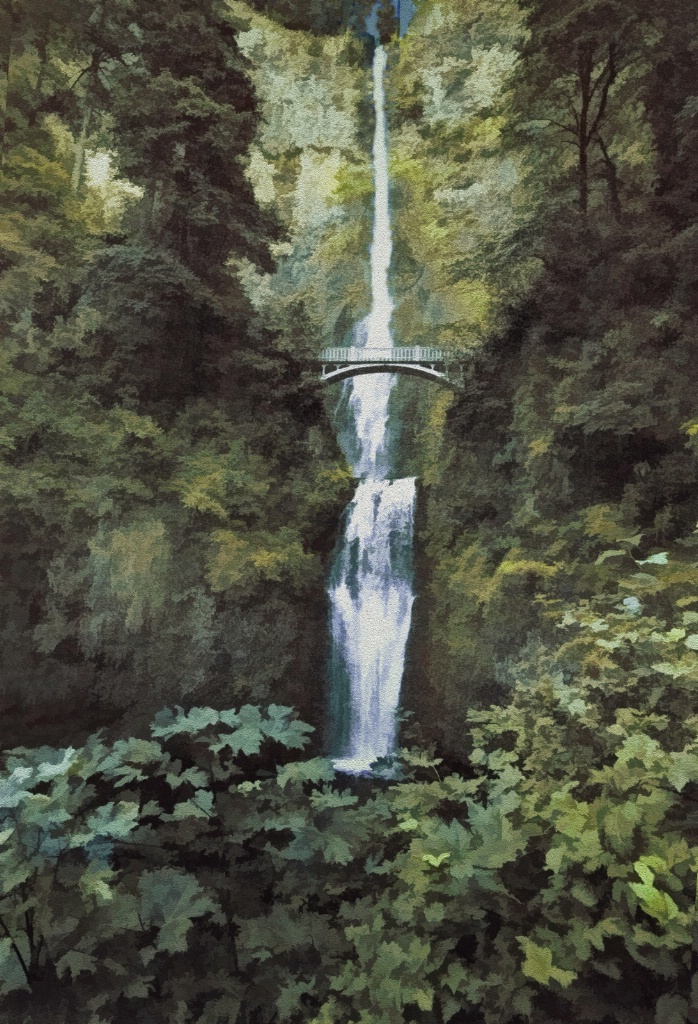 Multnomah Falls  Painterly