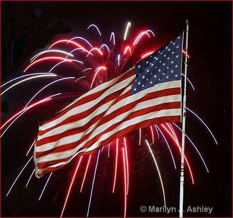 Flag & Fireworks - ID: 15255147 © Marilyn J. Ashley