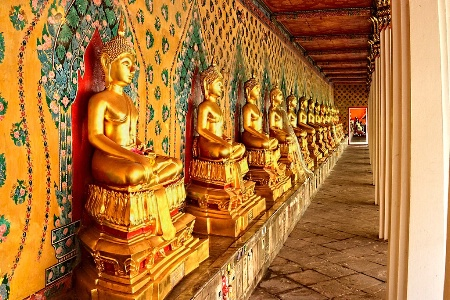 Golden Buddhas All In A Row