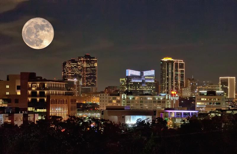 Supermoon Night Lights of Fort Worth