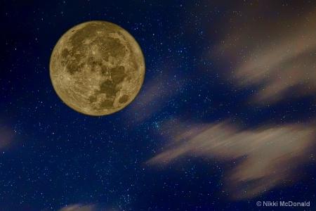 Supermoon and Night Sky