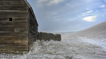 Barn and Light Snow