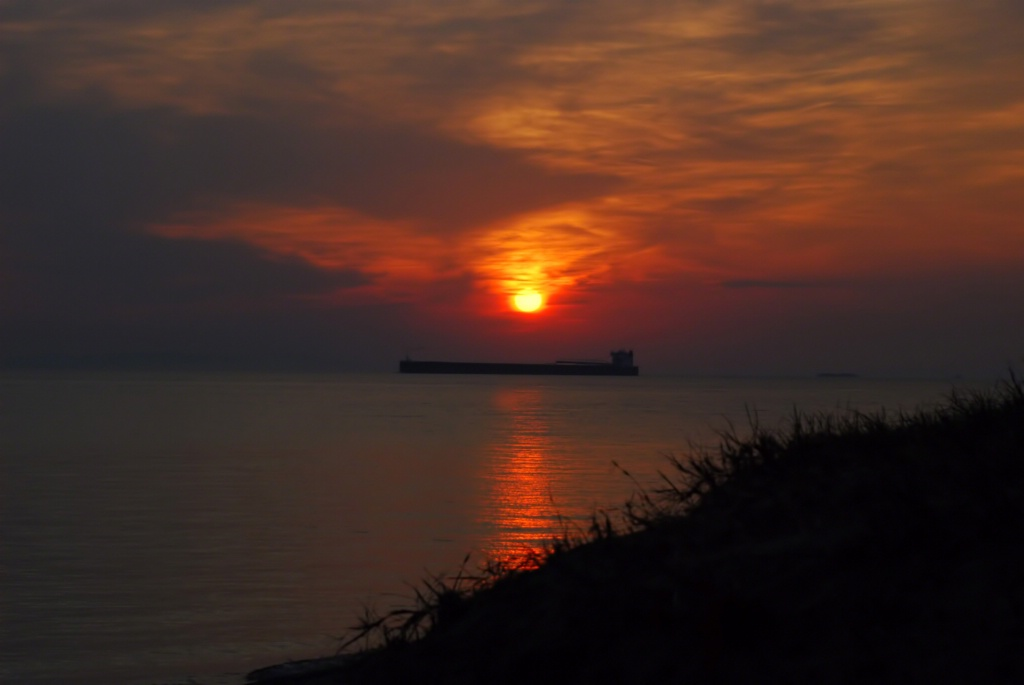 Upbound Freighter at Sunrise