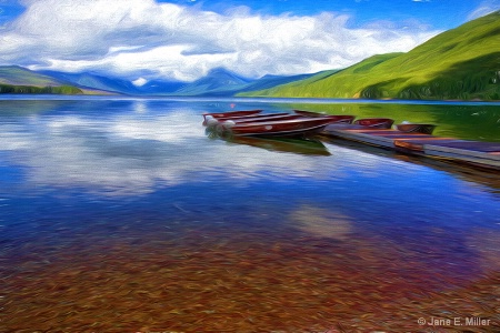 Montana Boat Landscape Painting
