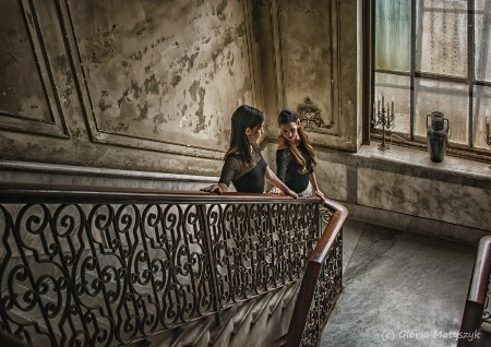 Ballerinas - natural light on the stairs; Cuba