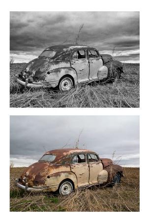 2 views of junkyard car