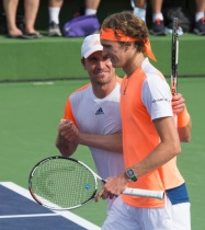 Zverev brothers after winning a doubles match