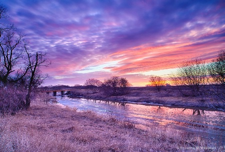 Sunset colors over the Maple River
