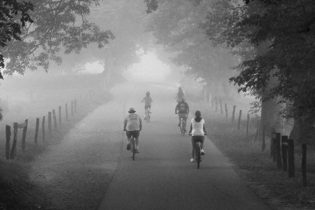 bike ride in black and white