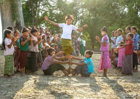 Playing children of myanmar......