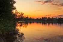 Sunset By The River Kemijoki in the Northern