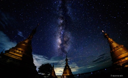 galaxy with pagodas