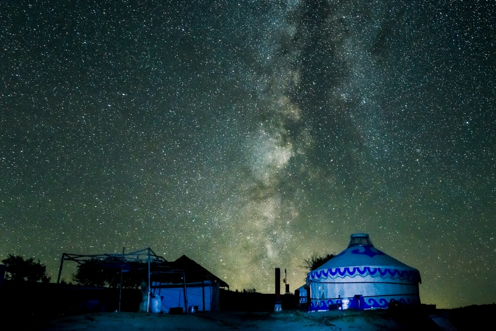 Starry night at tents