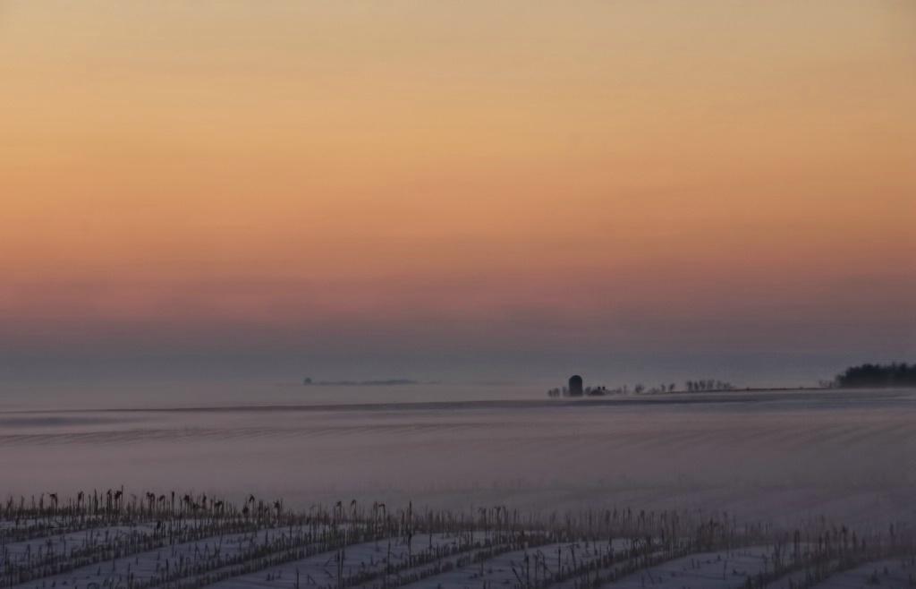Winter Sunset On The Farm