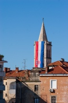 Croatian flag on Zadar's Cathedral