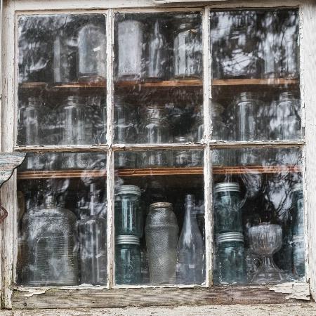 Window With Mason Jars