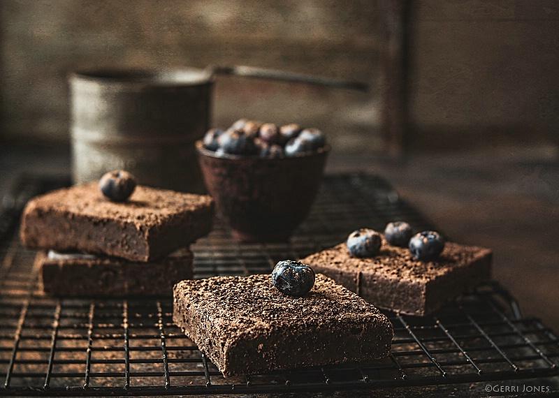 Sumatra Coffee Brownies + Blueberries