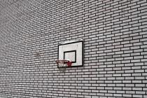 Basketball Hoop On A Brick Wall