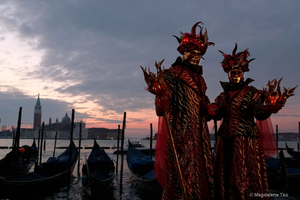 Venice Carnival: Pair Series - Vibrant Red Pair  - ID: 15526664 © Magdalene Teo