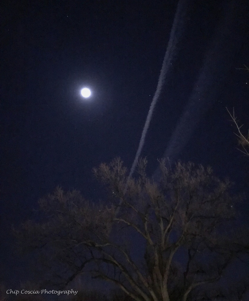 Moon, Sky And Contrail - ID: 15542979 © Chip Coscia