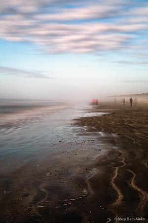 Beach Walkers in the Fog