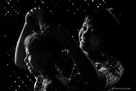 Coiffure of Burmese girl