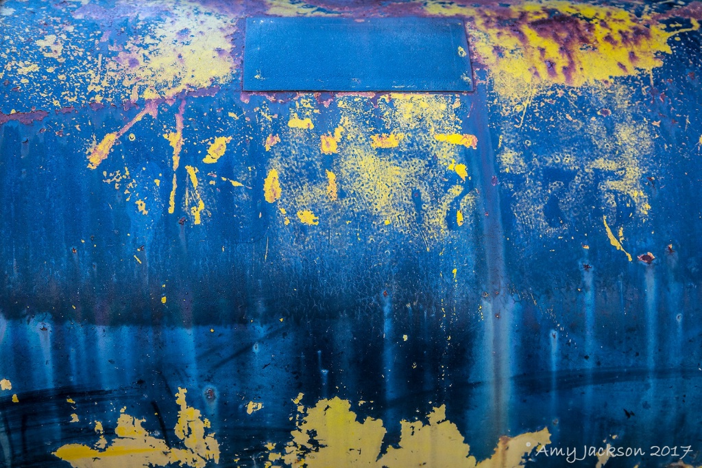 Blue and Yellow Rust Abstract