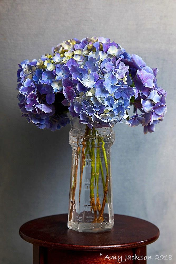 Purple & Blue Hydrangeas in Vase