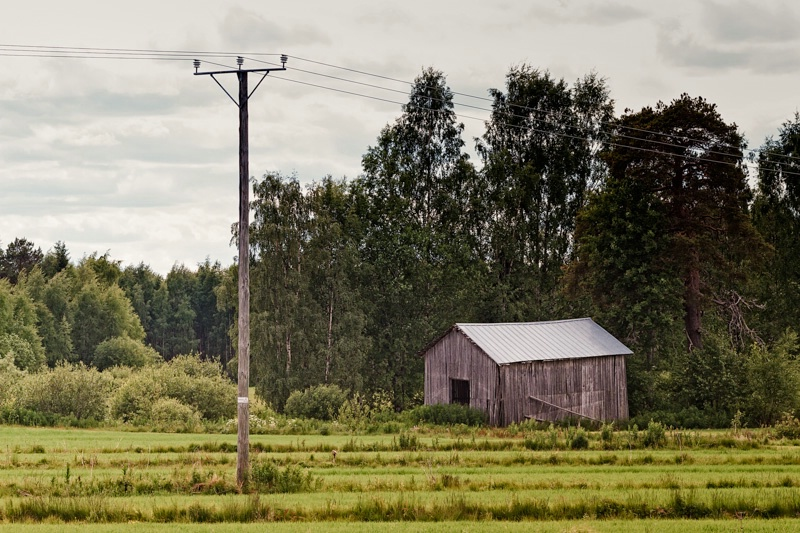 Old Barn By The Power Lines