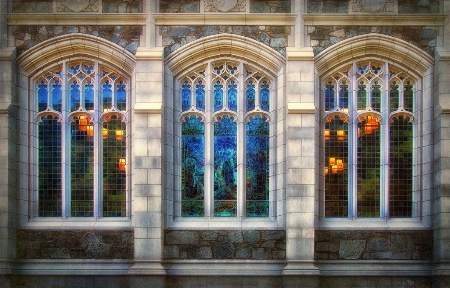 Stained glass, light and reflections