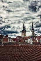 Church Towers Behind The Rooftops
