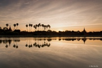 Sunrise over Mandalay moat.