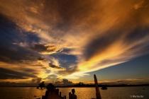 Sunset over U Bein bridge.