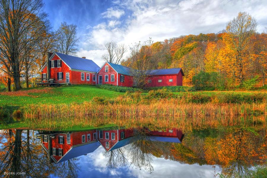 Farmhouse Reflections in Fall