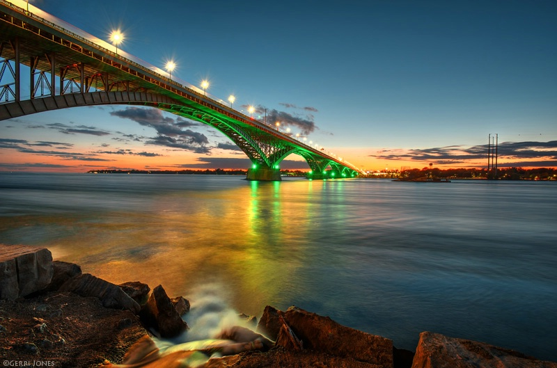 Peace Bridge Light at Sunset