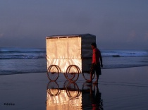 Cyclo van for wash in the sea beach