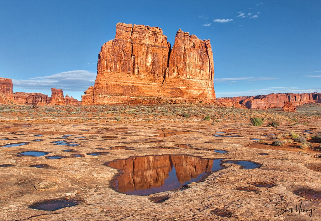 Reflections at Courthouse Towers; Arches NP - ID: 15657256 © Richard S. Young